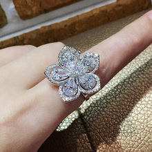 2019 New Luxury 925 Sterling Silver Flower Shape Big Zircon Stone Rings for Women Wedding Engagement Fashion Party Jewelry Ring
