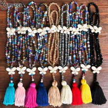 Yumfeel Brand New Crystal Tassel Butterfly Pendants Necklace Women Handmade 9 Colors Long Jewelry Gifts