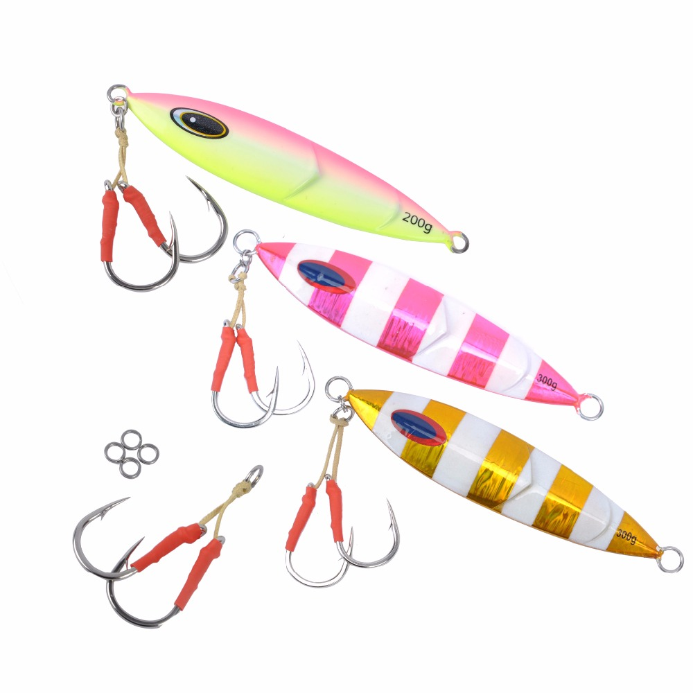 JEKOSEN 7oz/10.6oz Luminous Deep-sea Fishing Speed Jig Inchiku Jigging Fishing Bait Lures with 2 Pairs fishing <font><b>hook</b></font> (7/0) Sets
