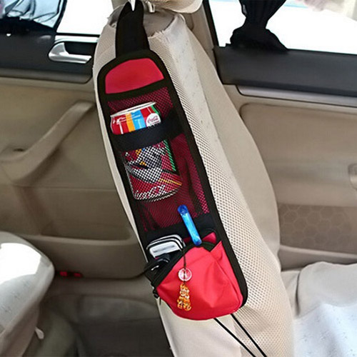 EDFY-New & Useful Car Interior Seat Covers Hanging Bags with Storage Pockets Seat Bag of Chair Side(Red)