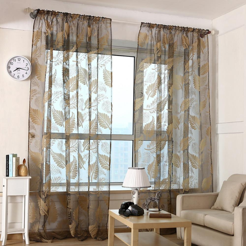 100cm*200cm Leaves Print Elegant Sheer Curtain Bay Window Balcony Living  Room Ceiling Installation Glitter
