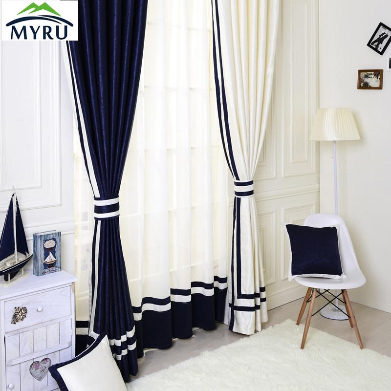 Mediterranean Style Semi Shade Cloth Curtains Window