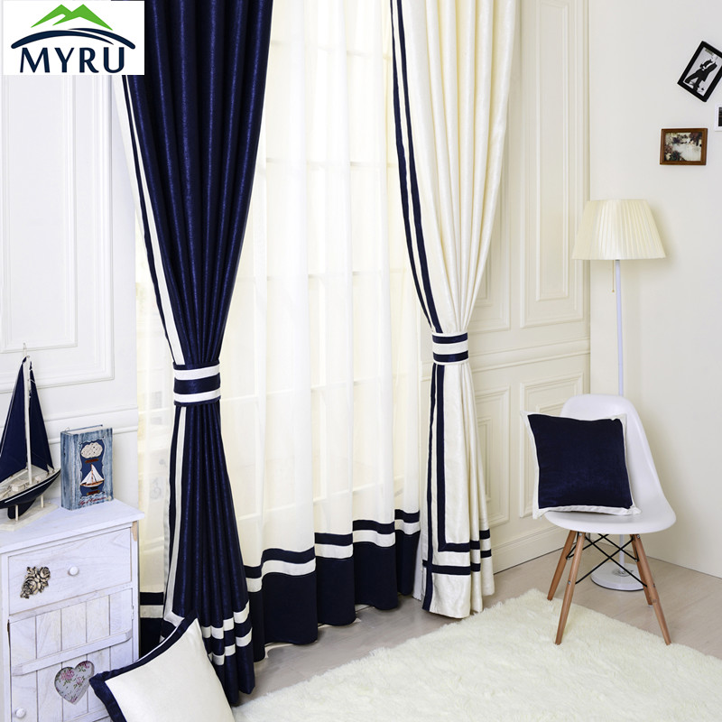 Mediterranean Style Semi Shade Cloth Curtains Window Curtain Simple Curtains  For Bedroom And Living Room(