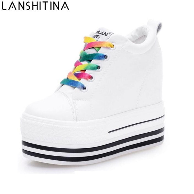 2019 New 12CM Heels Wedge Canvas Shoes Woman High Platform Sneakers Vulcanized Shoes Hidden Heel Height Increasing Casual Shoes