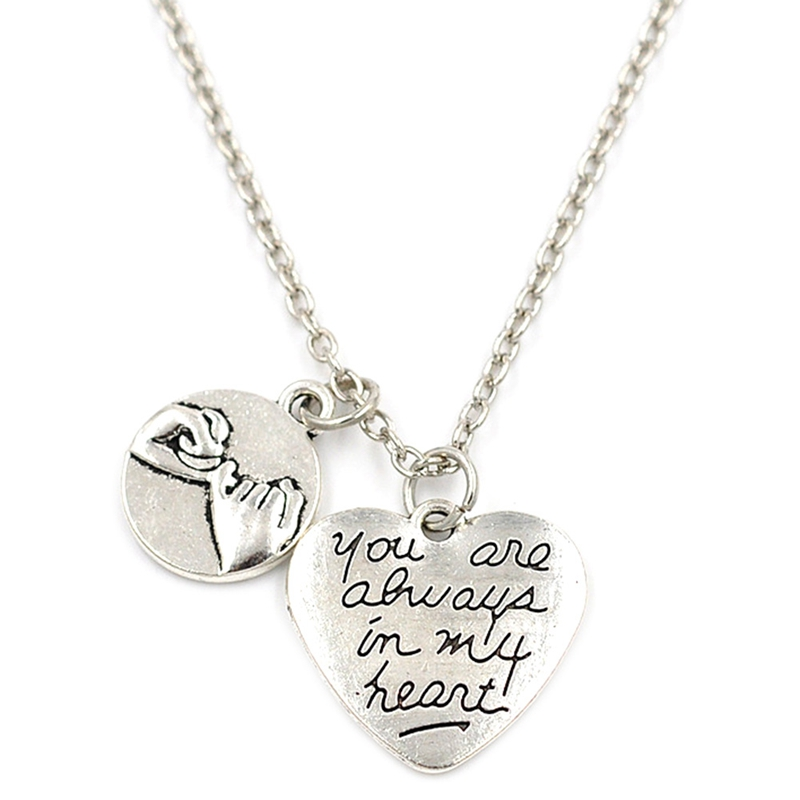 YOU ARE ALWAYS IN MY HEART Engraved HAND BY HAND Pendant Charms Necklace Jewelry Gift for  lover  FOR MOTHER'S DAY