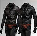 Осень зима плечевой ремень вкладыш много - молния дизайн мужчины в свободного покроя полиуретан кожа мотоцикл кожа куртка