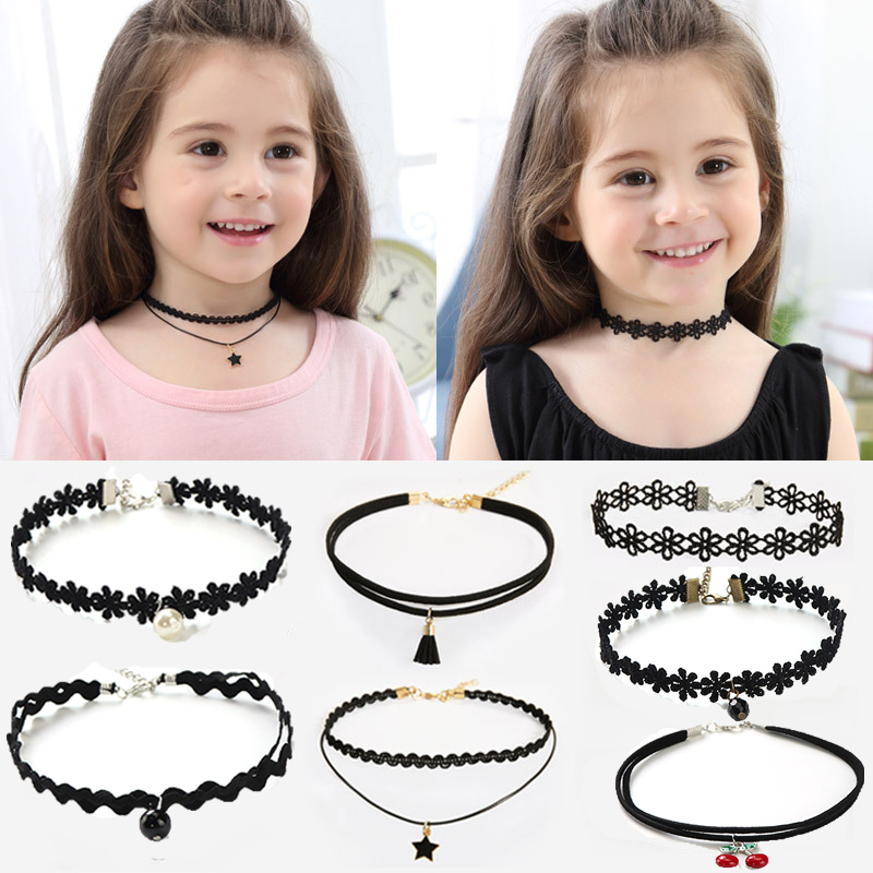 METOO 11PCS Choker Necklace Kids Lace Velvet Strip Woman Collar Baby Jewelry Neck Accessories Choker Handcrafted Chain Necklaces
