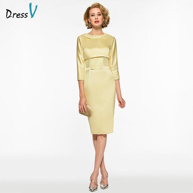 d8692ffe120 Dressv Yellow Mother Of The Bride Dress Scoop Neck 3 4 Sleeves Sheath Bow  Tea Length Wedding Party Mother Of The Bride Dress