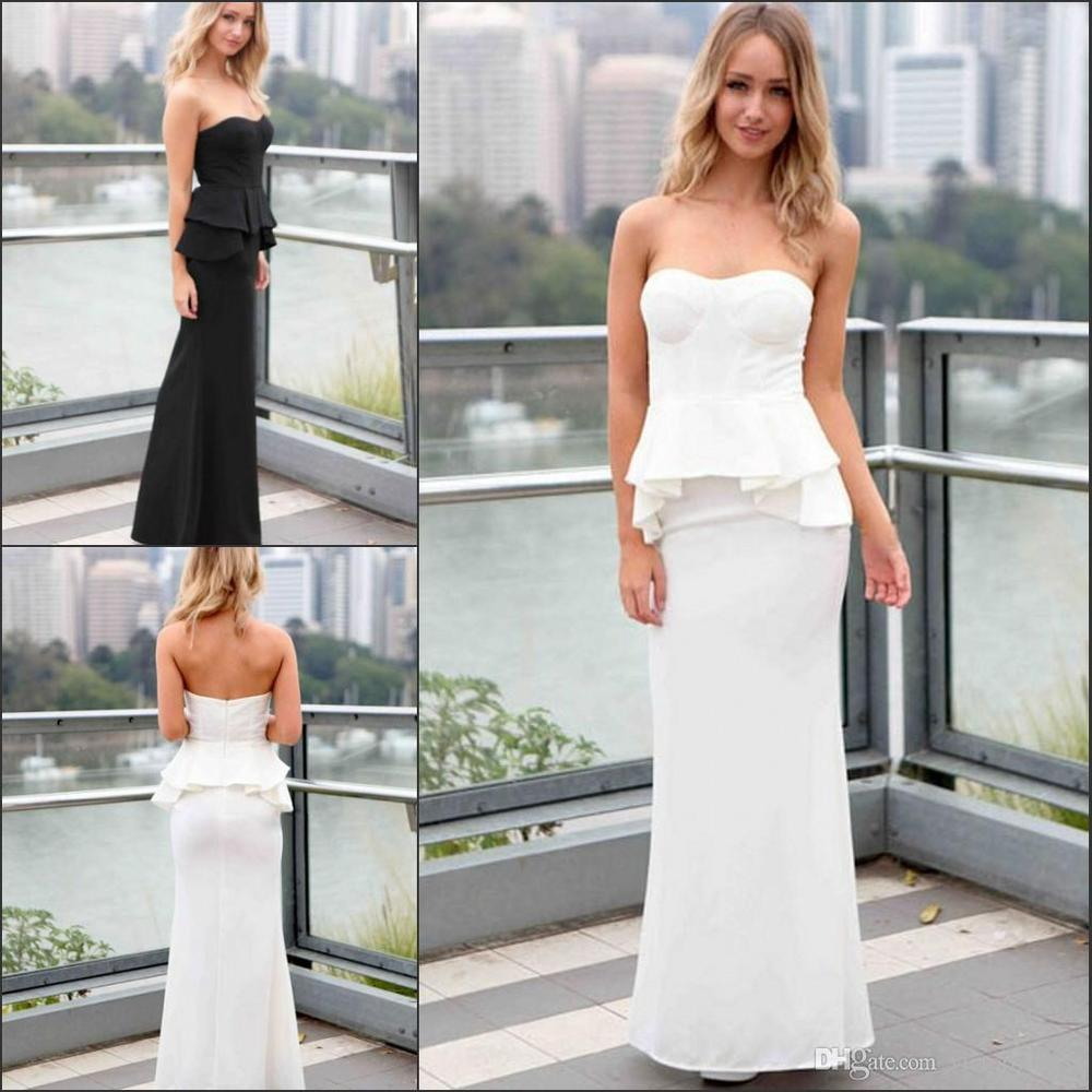 Black white strapless mermaid casual dresses sleeveless backless black white strapless mermaid casual dresses sleeveless backless floor length peplum formal junior bridesmaid dresses maid of ho in bridesmaid dresses from ombrellifo Images