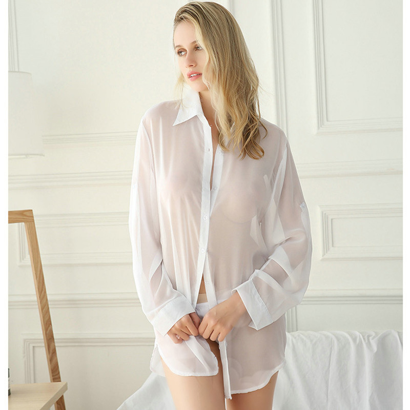 Oversize S-5XL Sexy Lingerie Blouse Women Home Boyfriend Style White Button Shirt Transparent Nighty Spring Summer Chiffon Tops 1