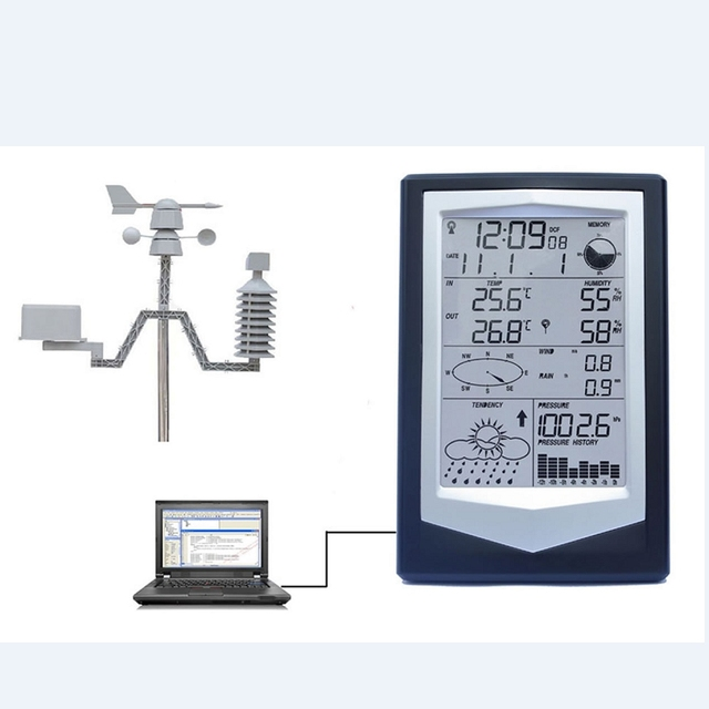 WS1040 Professionele Weerstation Met Pc Link Huishoudelijke Draadloze Thermometer Hygrometer Luchtdruk Weerbericht
