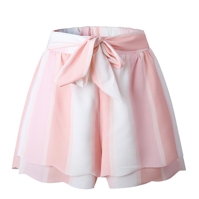 Pink Striped Women High Waist Short Pants Drawstring Belted Loose Shorts 2018 Summer Beach Casual Shorts