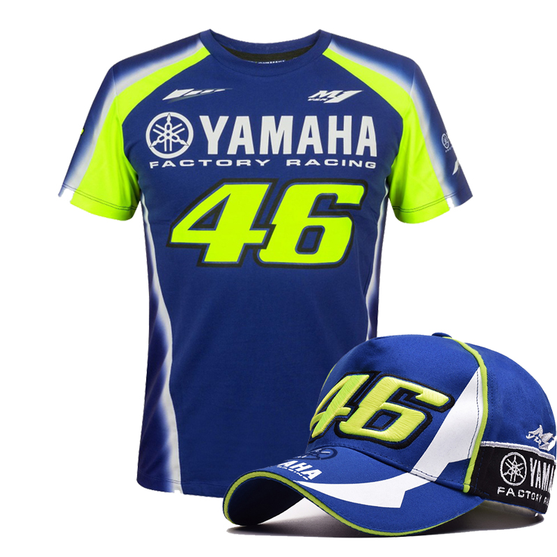 2018 vr46 rossi tops motocross t shirt for YAMAHA M1 RACING T SHIRT motorcycle t-shirt for Valentino Rossi Men Tee Cap