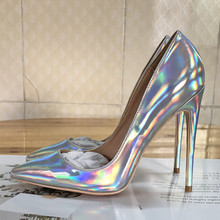 Free shipping  fashion women pumps Casua silver laser patent leather pointed toe high heels shoes 12cm 10cm 8cm Stiletto free shipping fashion women pumps casual green patent leather printed pointed toe high heels shoes 12cm 10cm 8cm stiletto heels
