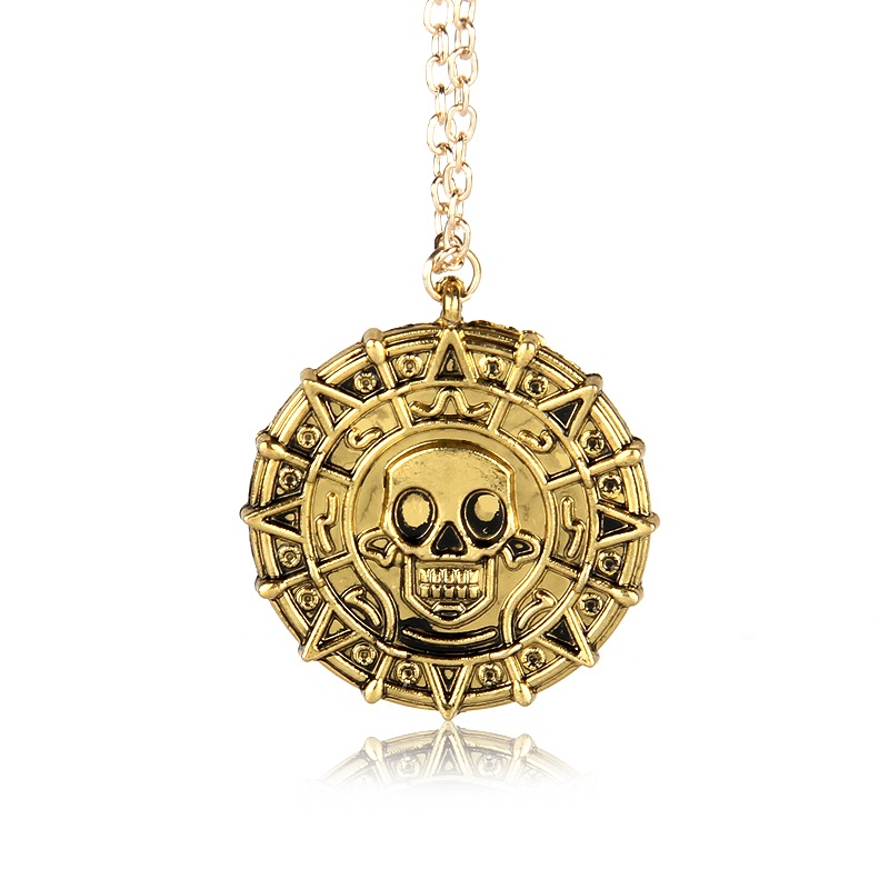 Pirates of the Caribbean Aztec Coin Medallion Necklace