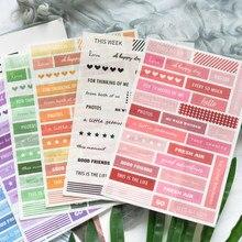 Lovedoki créatif anglais phrase autocollant Kit 8 pièces/paquet planificateur journal journal livre autocollants décoratifs Scrapbooking bricolage accessoires