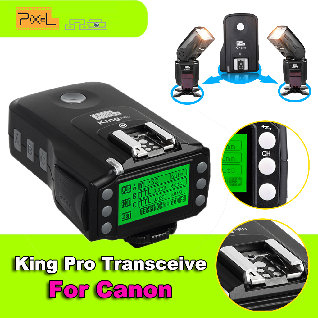 Pixel King Pro Wireless Flash Trigger Remote Control Transceivers TTL HSS LCD Screen with PC Port for Canon Eos DSLR Camera