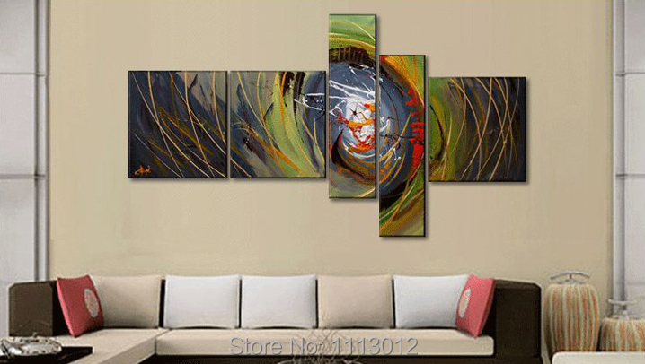 Abstract Brown Line Phoenix Oil Painting On Canvas High Quality 5 Pcs Sets Home Modern Wall Art Decoration For Living Room Sale