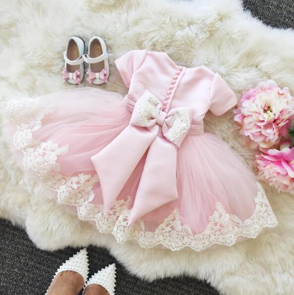 Lovely pink Lace Flower Girl Dresses for wedding 2016 Ball Gowns tea-length dresses for girls birthday party dresses with bow