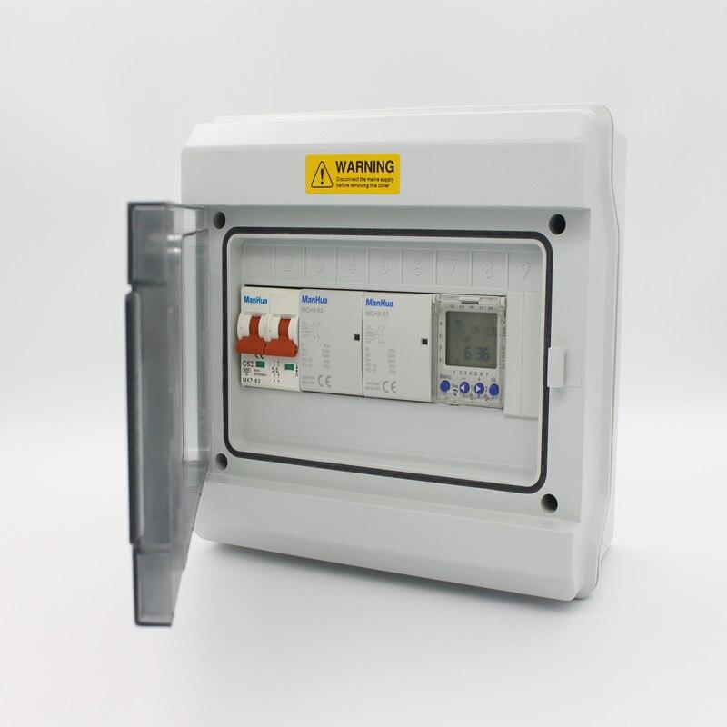 Manhua multifonctionnel 2 canaux 63A étanche Protection minuterie numérique Temporizador MT822 minuterie numérique interrupteur boîte de contrôle