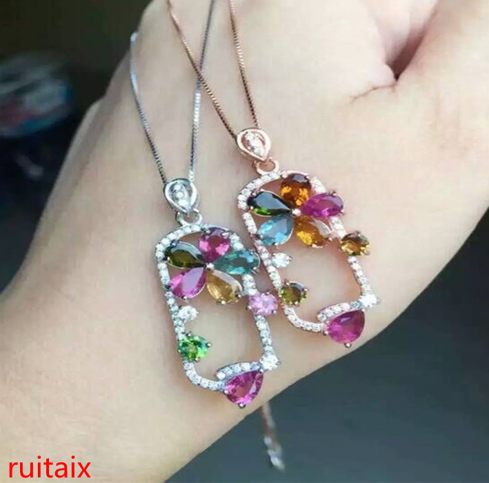 KJJEAXCMY boutique bijoux S925 argent rose tourmaline ovale pendentif bijoux bijou naturel livre boîte chaîne mail. sdxcvg