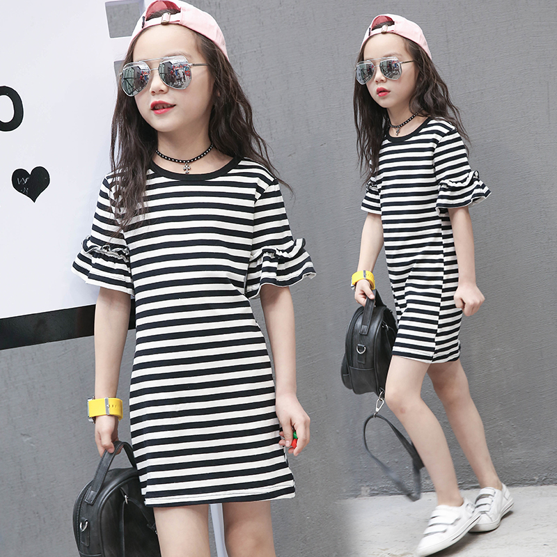 2018 New baby children clothes big girls striped dresses casual summer princess dress cotton clothing for 3 to 18 years old