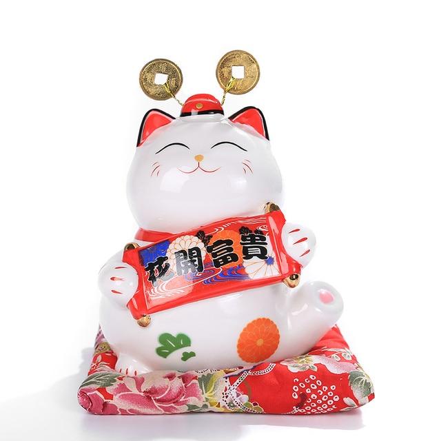 6 inch Maneki Neko Ceramic Lucky Cat Home Decor Porcelain Ornaments Cute Fortune Cat Money Box Fengshui Crafts 3