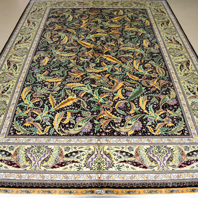 mingxin 6x9 feet black green leaves turkish carpet hand knotted silk carpet rugs carpet for living - 6x9 Rugs