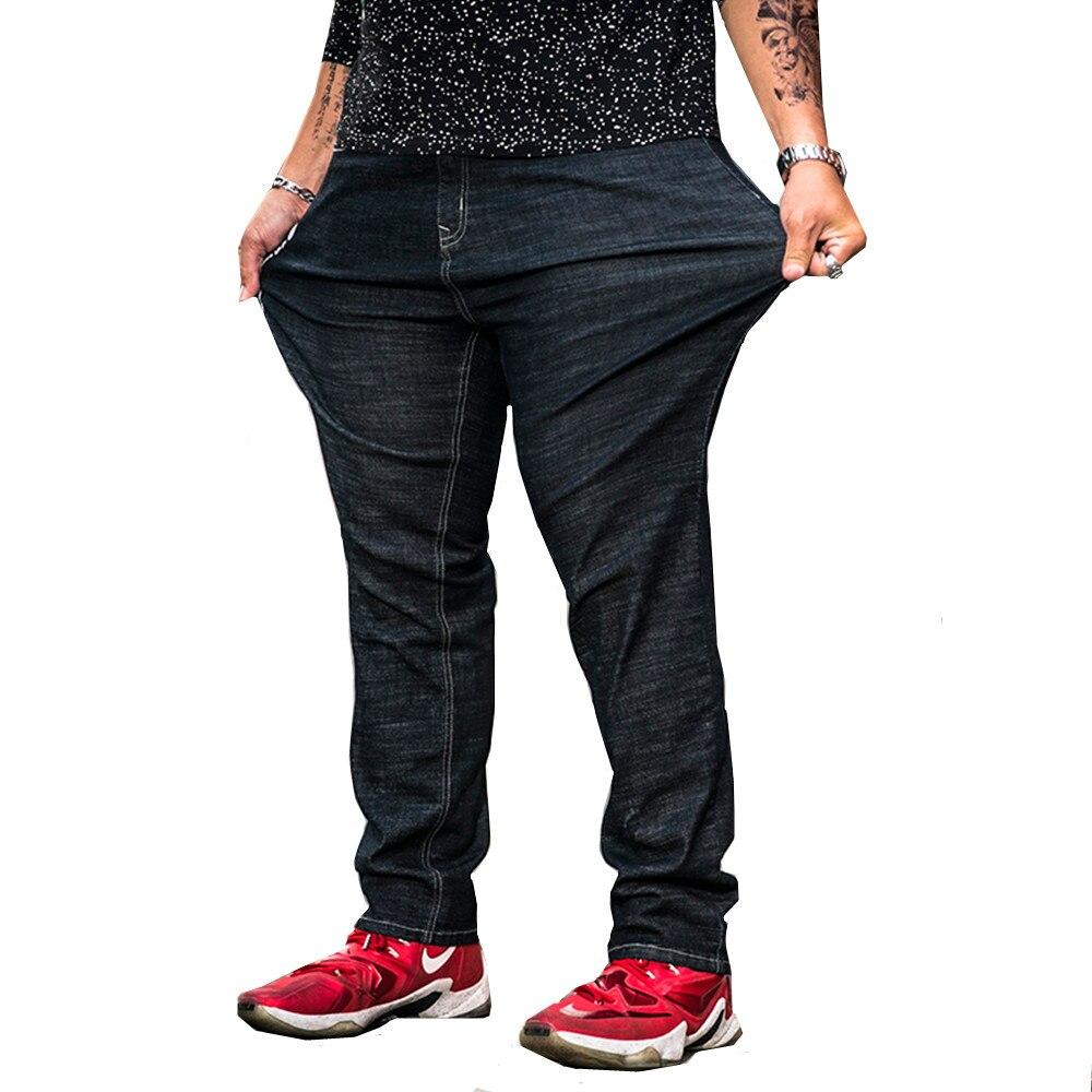 Big Size Plus 31-42 44 46 48 Men Jeans Classic Men's Clothing Casual Straight Denim Trousers Men High elasticity Jean For 130KG