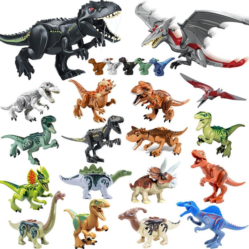 Jurassic Park World Dinosaur Building Block Pterosauria Triceratop Indomirus T-Rex Minifigure Brick Compatible with Lego YG77001 figurine