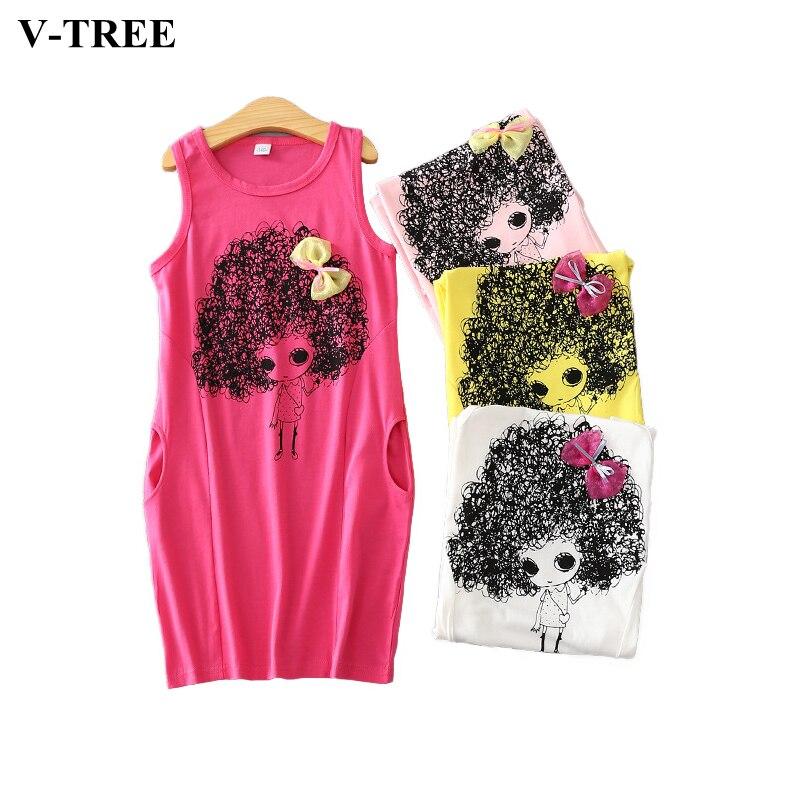 V-tree vestidos de princesa de verano para 4-12 años de muchacha muchachas sin m