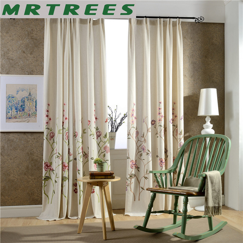 Modern Embroidered Blackout Curtains For Bedroom Floral