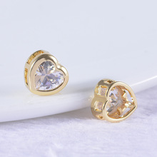 6PCS 5MM 6MM 7MM 24K Champagne Gold Color Plated Brass with Zircon Heart Charms Spacer Beads Bracelet Quality Accessories