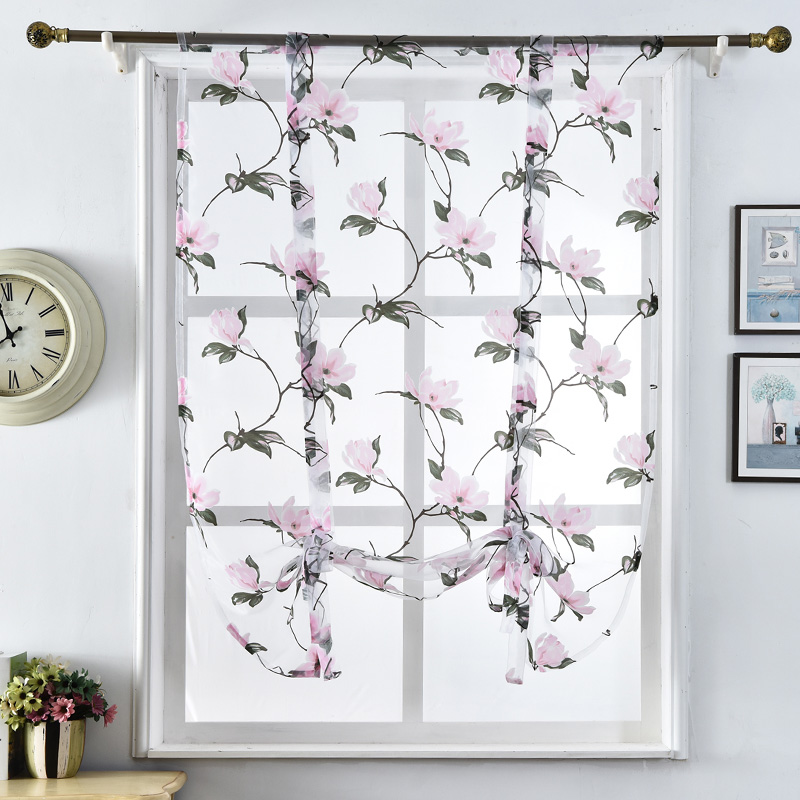 Floral Design Kitchen Curtains Short Kitchen Curtains Sheer Short Curtains  Roman Blinds Door Modern Tulle Fabrics Valance In Curtains From Home U0026  Garden On ...