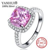 Яньхуэй Ювелирные украшения реальные 925 пробы Серебряные кольца набор 3 карат Розовый CZ Diamant Обручение обручальное кольцо Кольца для Для жен