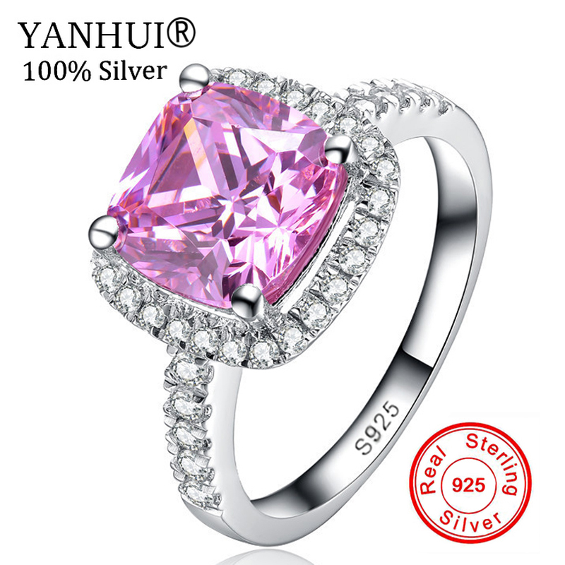 YANHUI Fine Jewelry Real 925 Sterling Silver Rings Set 3 Carat Pink CZ Diamant Engagement Wedding Ring Rings For Women JZR068 big promotion 100% original 925 silver wedding rings for women natural solitaire 6mm cz diamant engagement rings jewelry rj003