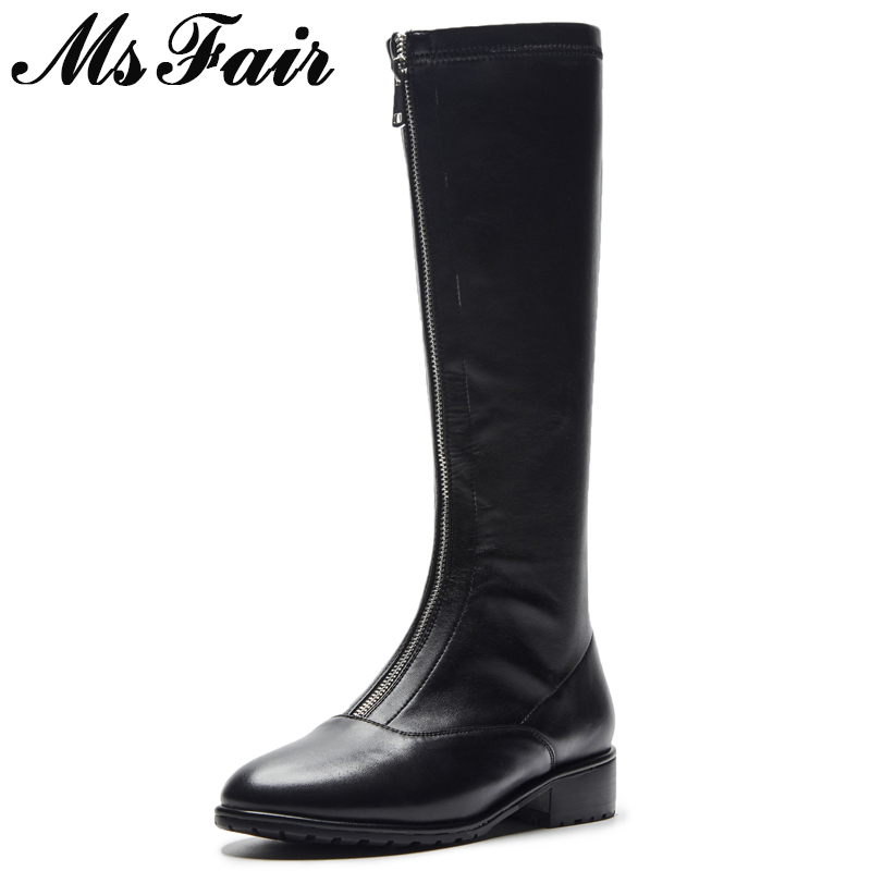 MSFAIR Round Toe Low Heel Women Boots Zipper Square heel Knee High Boots Winter Shoes Genuine Leather Black Boot Shoes For Girl perixir women pu knee high black boots solid 3 cm low heel boots for women fashion shoes boots in winter square heel pointed toe