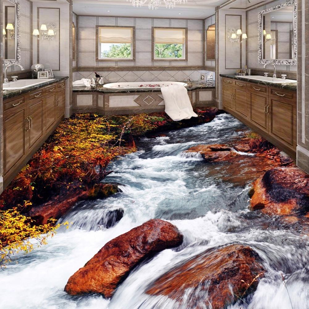 US $16.8 44% OFF|Benutzerdefinierte 3D Boden Tapete Badezimmer Toilette  Schlafzimmer PVC Boden Aufkleber Dekor Wasserdicht selbstklebende Vinyl ...