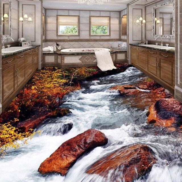 US $30.0 |Benutzerdefinierte 3D Boden Tapete Badezimmer Toilette  Schlafzimmer PVC Boden Aufkleber Dekor Wasserdicht selbstklebende Vinyl ...