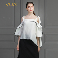 VOA тяжелый шелк сексуальная Slash шеи Дамы топы с бантом свободная футболка белый элегантный Для женщин футболка рукав «летучая мышь» с открыт
