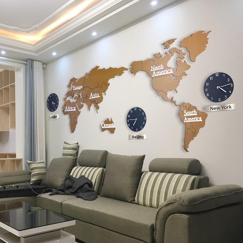 Nouvelle Creative En Bois Carte Du Monde mur Horloge 3D Carte