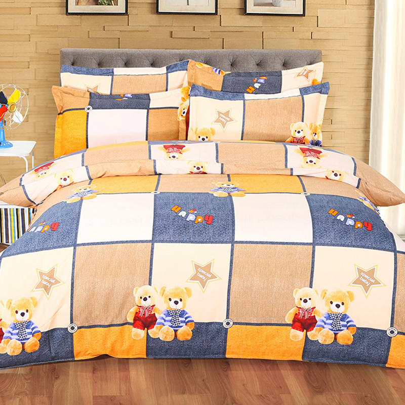 Solar Industrious Bear Plaid 4 Pcs Bedding Sets King Queen Double Size Duvet Cover 6/7 Feet 1.8m 2.0m Bed Sheet Pillowcase Bedlinen Set Bedclothes Reasonable Price