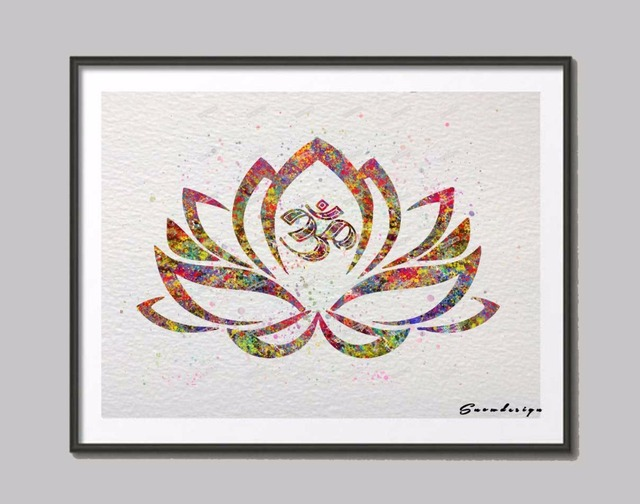 Lotus Flower Wall Art aliexpress : buy original watercolor lotus flower om sign yoga