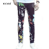 2017 New Summer Stretch Printing Thin Men Fashion Black Jeans Mens 3d Painting Printed Hiphop Jean Skinny Jean Men Pants Men