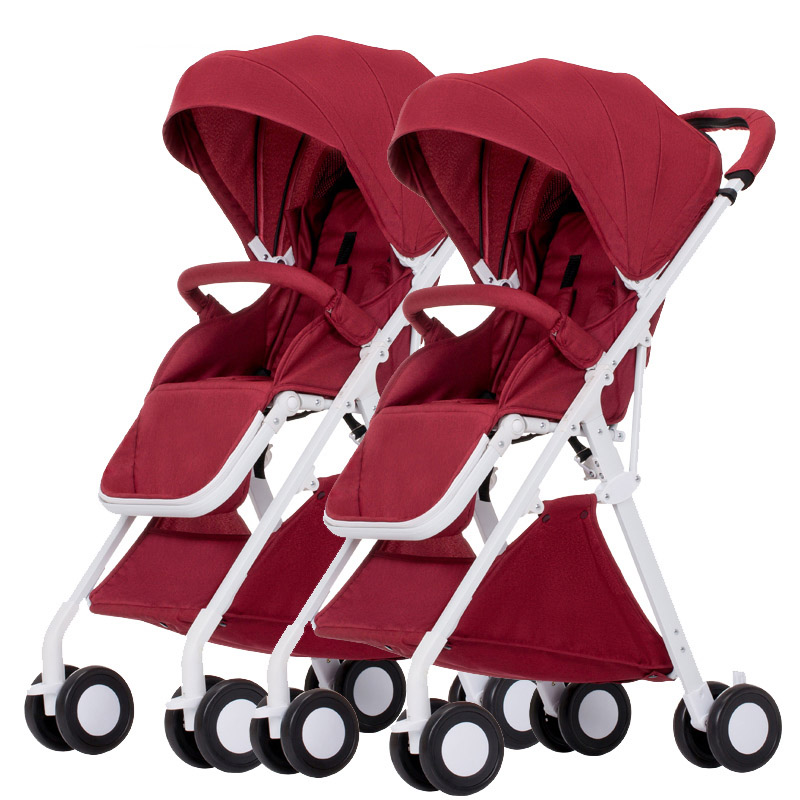 купить Twin baby stroller, can sit and can lie down,high landscape baby stroller, convenient folding, damping по цене 9791.64 рублей