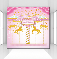 Unicorn Backdrop for Photography Carousel Carnival Birthday Party Background Baby Shower Cake Table Banner Photo Booth CZ 097
