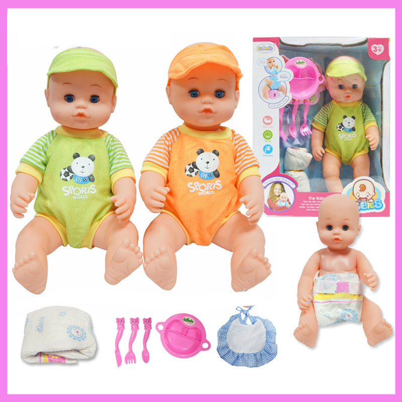 Children Bathe Baby Doll Accessories Simulation Dolls Pretend Play Doll Clothes Diapers Baby Boys and Girls Tableware Toys
