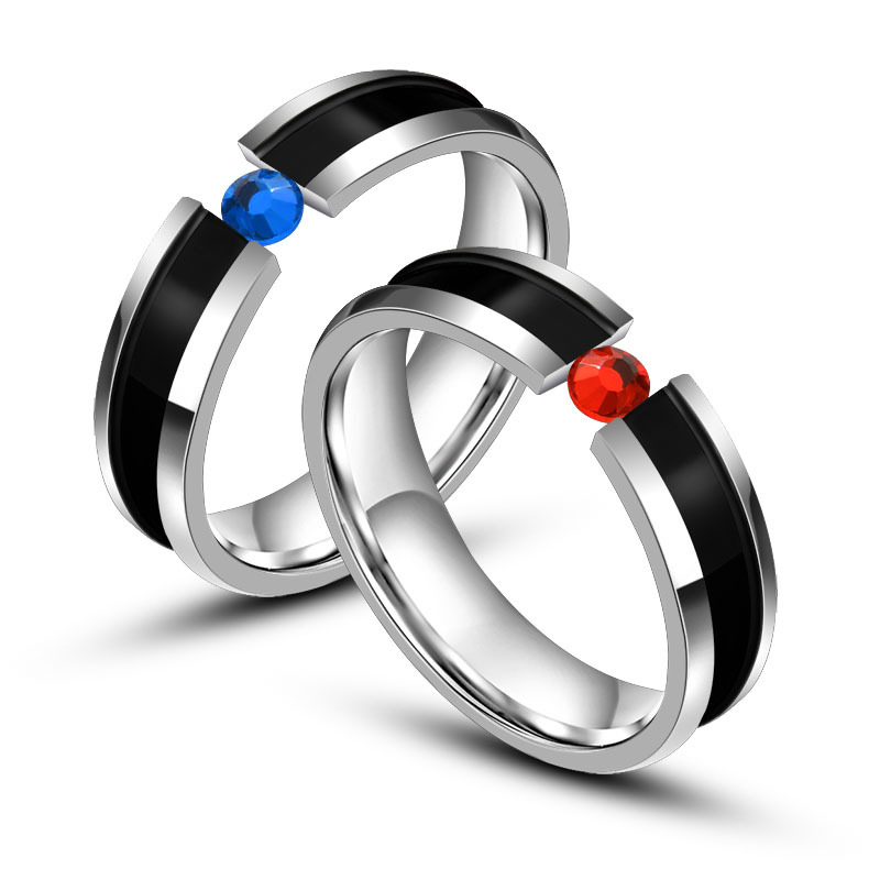5mm Fashion Trendy Lovers Wedding Ring Bands Romantic Stainless Steel Crystal Women Men Jewelry Rings
