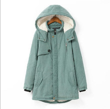 New Fashion 2016 Fall Winters Big yards Women Leisure Thicken Keep Warm Hooded Medium Long Cotton-padded Clothes Coat G1072