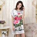 Las mujeres de Imitación de Seda de Raso Vestido de Noche de Manga Corta Camisa de Dormir Vestido de Casa Camisón Floral Cuello Redondo Desgaste de La Noche de Verano de Ocio desgaste